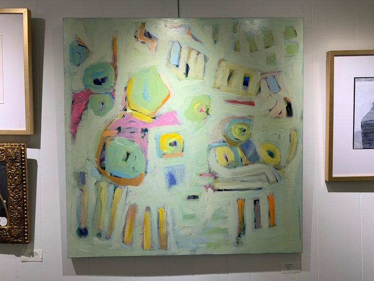 Garden 3 by Carylon Killebrew, Medium Square Abstract Painting in Pastel Palette For Sale 2