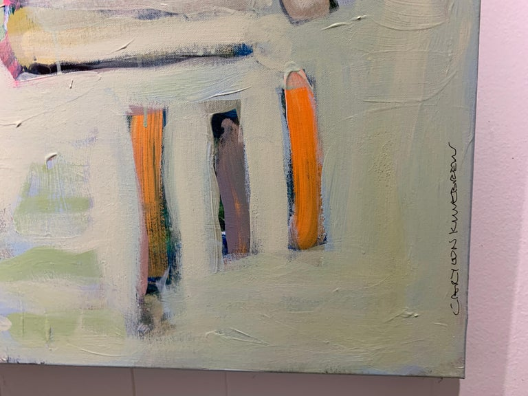 Garden 3 by Carylon Killebrew, Medium Square Abstract Painting in Pastel Palette For Sale 3