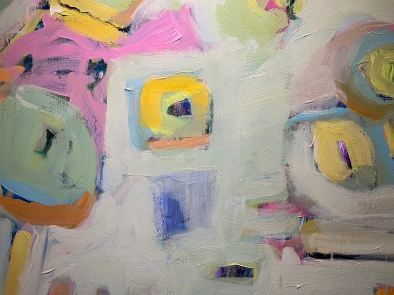 Garden 3 by Carylon Killebrew, Medium Square Abstract Painting in Pastel Palette For Sale 4