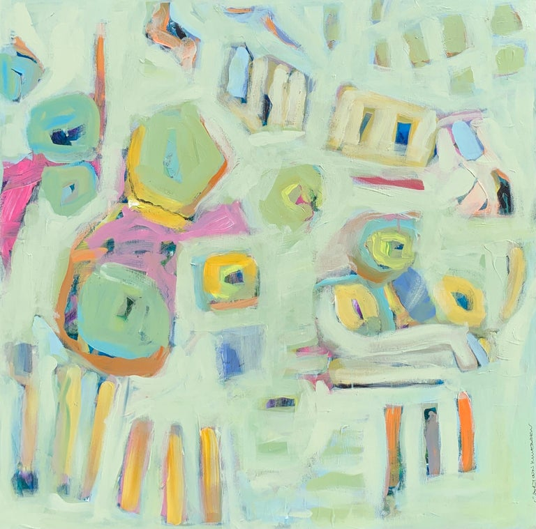 This contemporary piece by American artist Carylon Killebrew depicts an abstract view of the artist's garden.  The palette is made up of  cream, pink, blue, green and neutrals in the palette.  The artist uses her brush strokes to convey color and