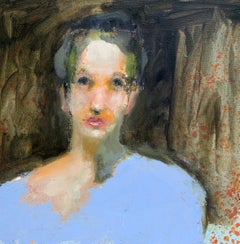 """Lady in Blue"" by Carylon Killebrew Medium Square Figurative Painting"