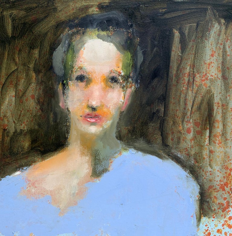 This contemporary figurative portrait by American artist Carylon Killebrew depicts a striking woman in blue looking directly at the viewer.  The palette is made up of a dark background with cream, pink, blue, green and neutrals in the palette.  The