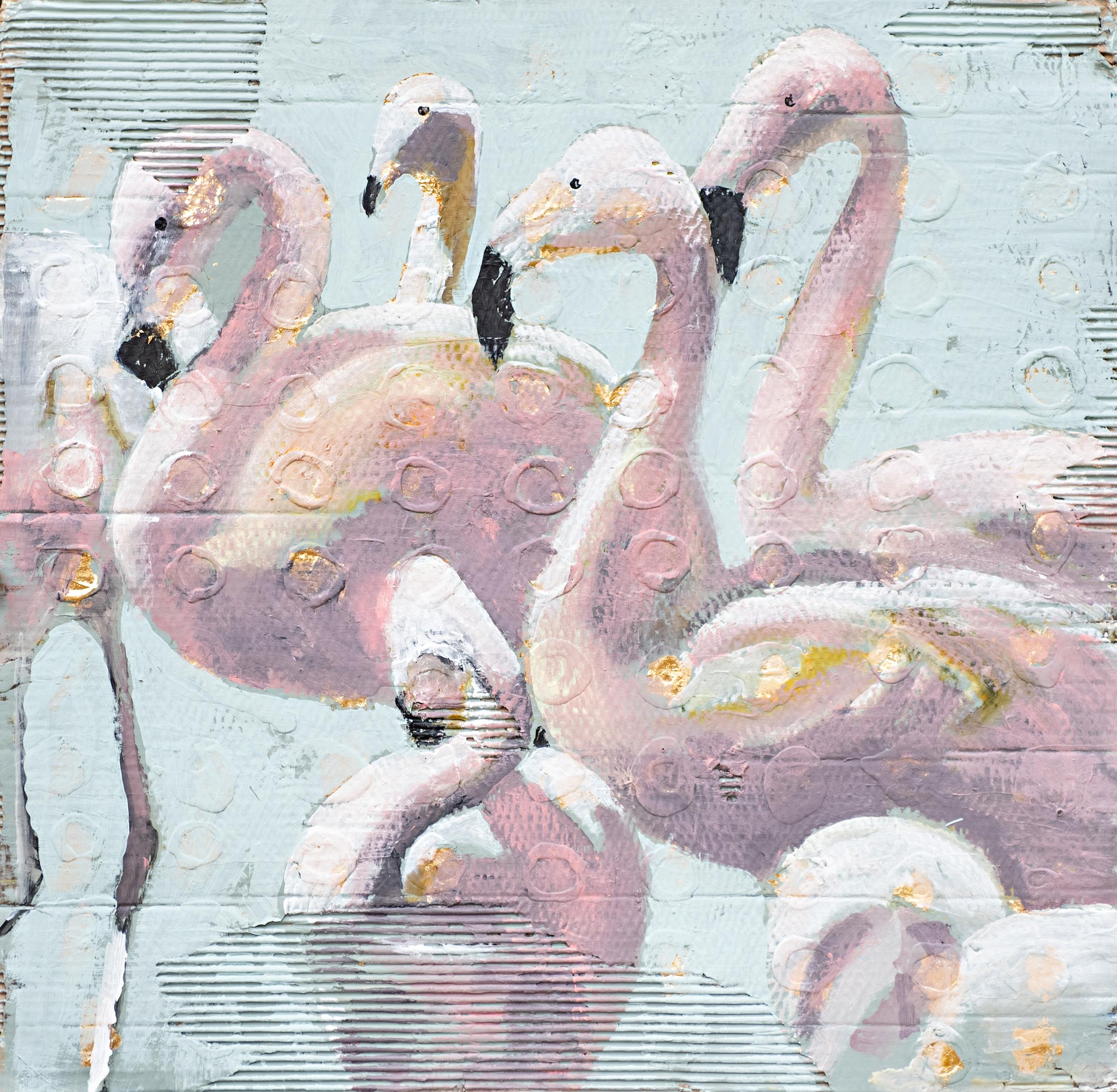 More Please by Carylon Killebrew, Square Flamingo Framed Painting on Cardboard