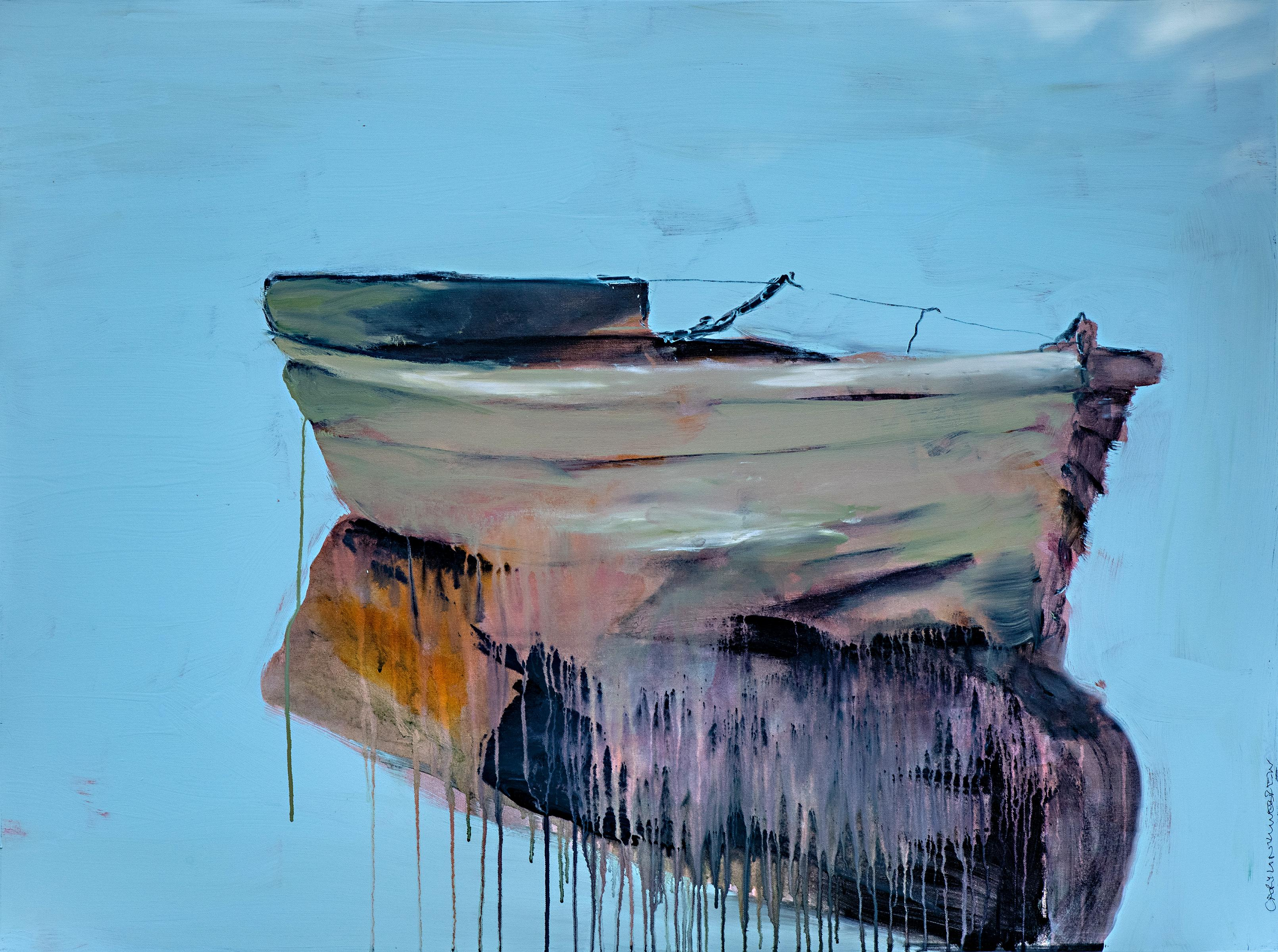 Secret Heart by Carylon Killebrew Large Contemporary Boat Oil on Canvas