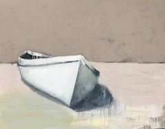 'The Water is Wide' Large Contemporary Boat Oil on Canvas Painting