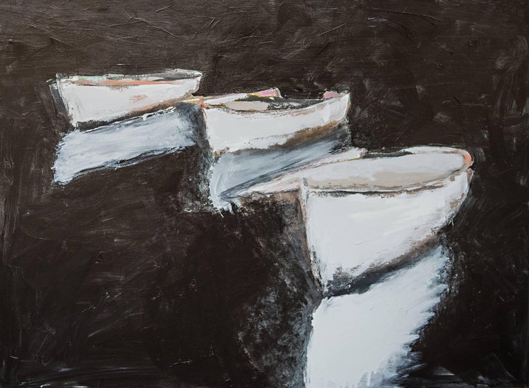 'Three White Boats' Contemporary Boat Painting