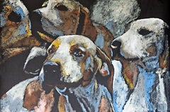 Turn To Me by Carylon Killebrew 2018 Large Horizontal Dog Painting on Tar Paper