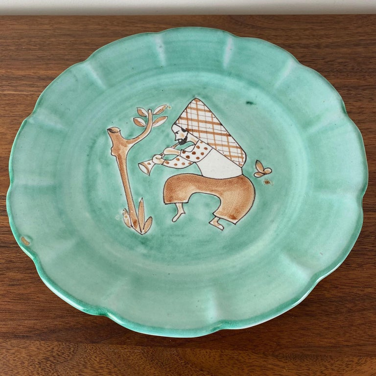 Mid-Century Modern CAS Vietri Ceramic Plates with Figure Motif, Italy - a Pair For Sale