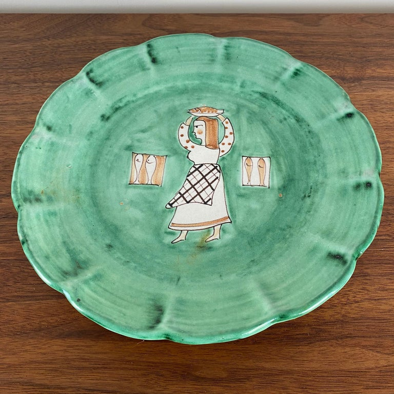 20th Century CAS Vietri Ceramic Plates with Figure Motif, Italy - a Pair For Sale