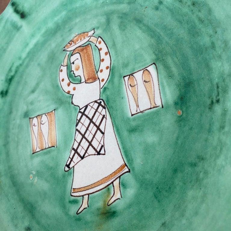 CAS Vietri Ceramic Plates with Figure Motif, Italy - a Pair For Sale 1