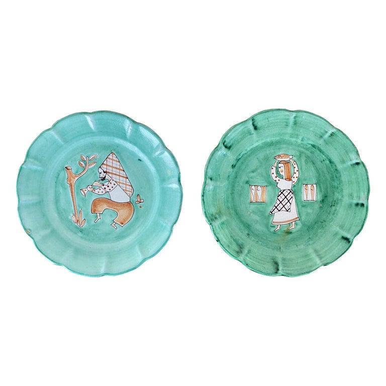 CAS Vietri Ceramic Plates with Figure Motif, Italy - a Pair For Sale