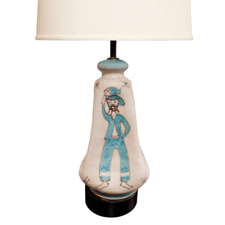 Mid-Century Modern C.A.S. Vietri Ceramic Table Lamp with Figural Motif 1950s For Sale