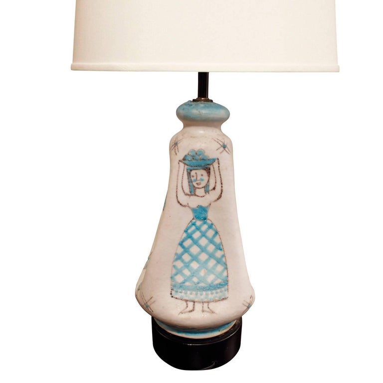 Italian C.A.S. Vietri Ceramic Table Lamp with Figural Motif 1950s For Sale