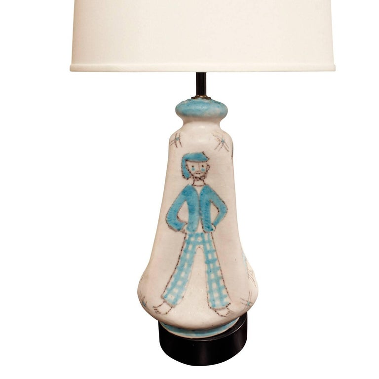 Hand-Crafted C.A.S. Vietri Ceramic Table Lamp with Figural Motif 1950s For Sale