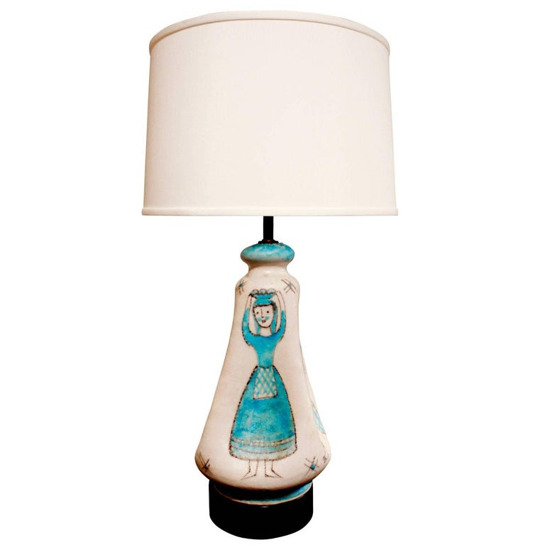 C.A.S. Vietri Ceramic Table Lamp with Figural Motif 1950s For Sale