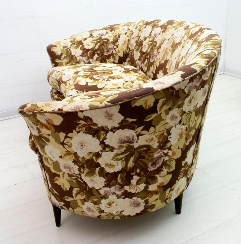 Fabric Casa e Giardino Mid-Century Modern Italian Small Sofa Two Small Armchairs For Sale