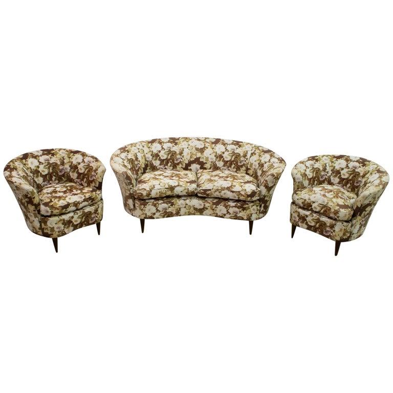Casa e Giardino Mid-Century Modern Italian Small Sofa Two Small Armchairs For Sale
