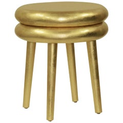 Casablanca Accent Table in Hand-Gilded Gold Leaf by Badgley Mischka Home