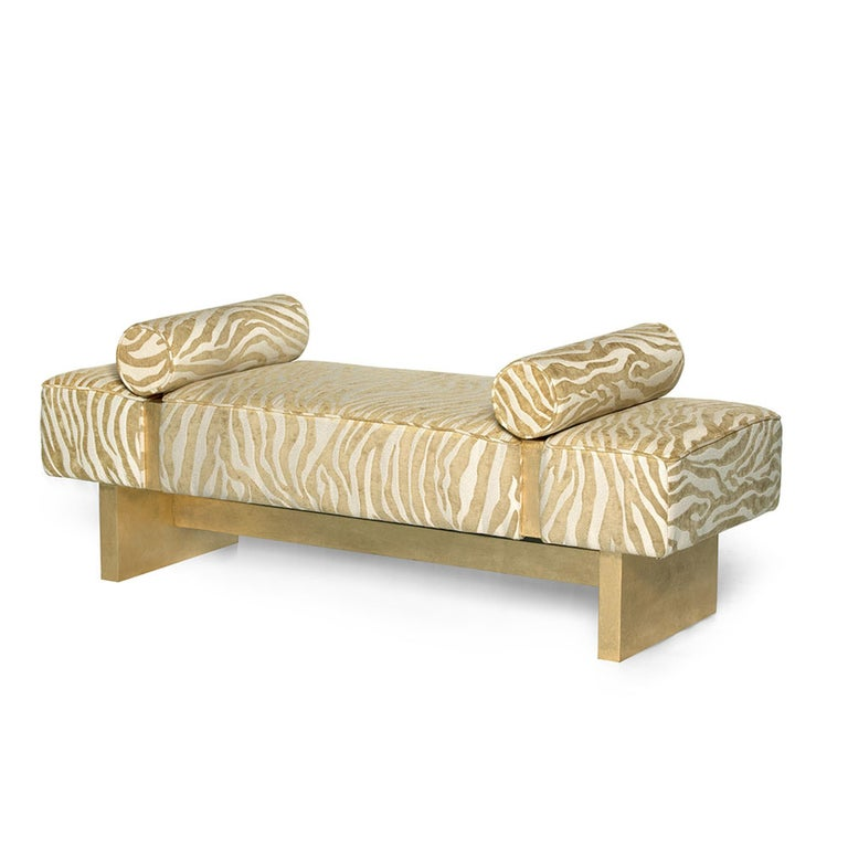 Casablanca Bench in Wood and Animal Print by Badgley Mischka Home 2