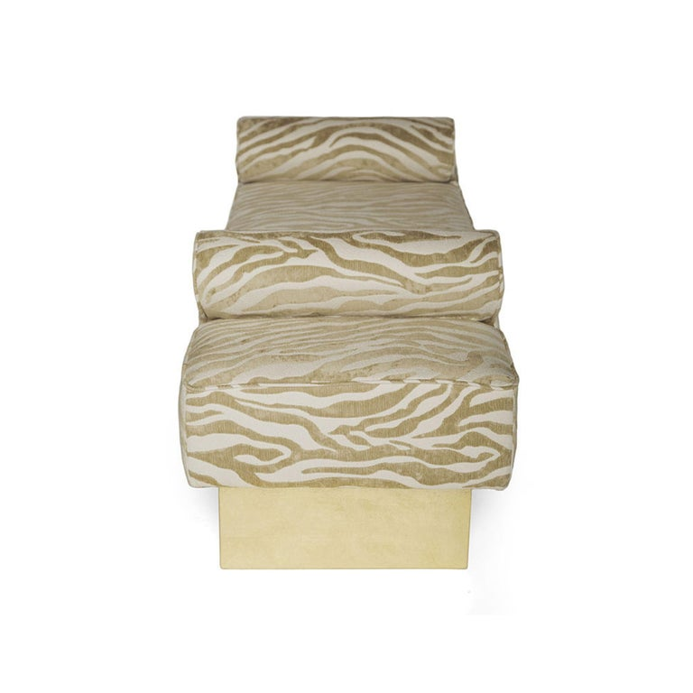 Casablanca Bench in Wood and Animal Print by Badgley Mischka Home 3