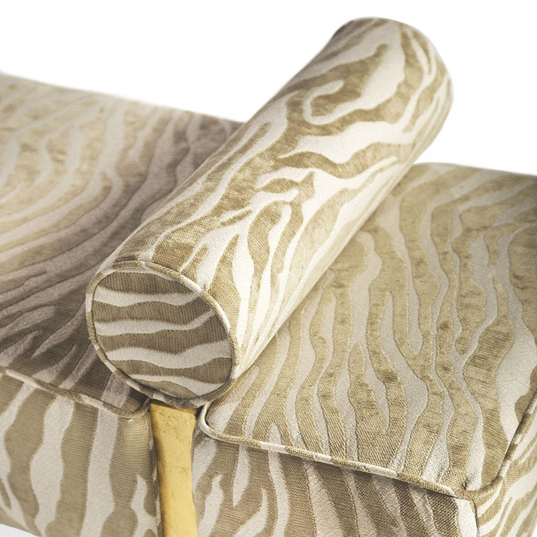 Casablanca Bench in Wood and Animal Print by Badgley Mischka Home 6