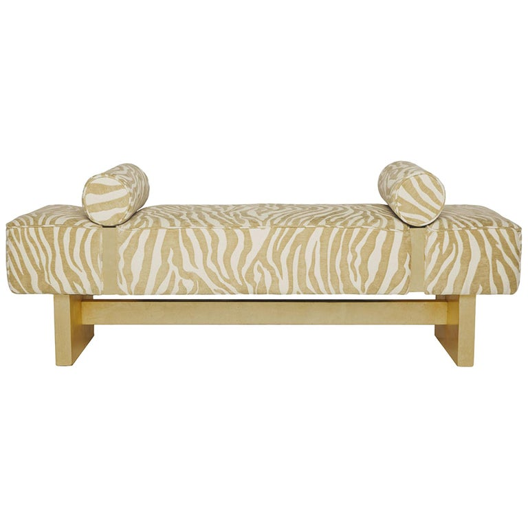 Casablanca Bench in Wood and Animal Print by Badgley Mischka Home 1