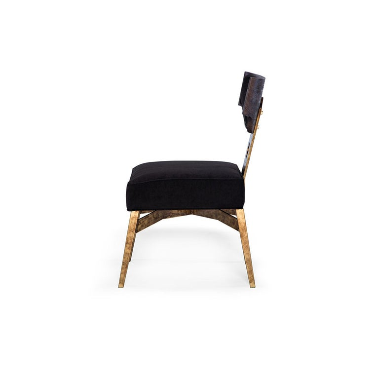 Modern Casablanca Desk Chair in Black and Gold Leaf by Innova Luxuxy Group For Sale
