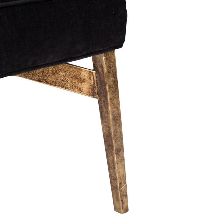 Casablanca Desk Chair in Black and Gold Leaf by Innova Luxuxy Group In New Condition For Sale In Los Angeles, CA