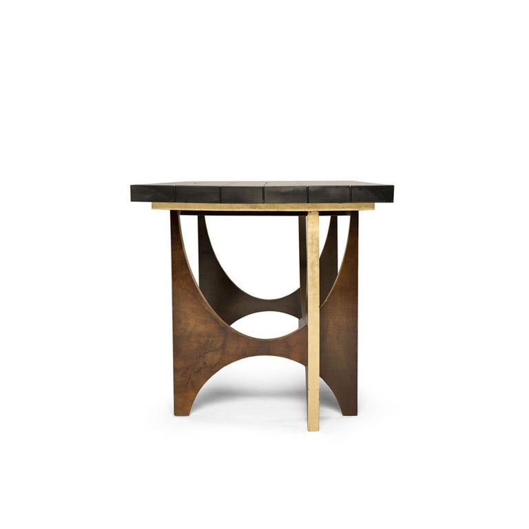 Modern Casablanca Desk in Chocolate and Gold Leaf by Badgley Mischka Home For Sale