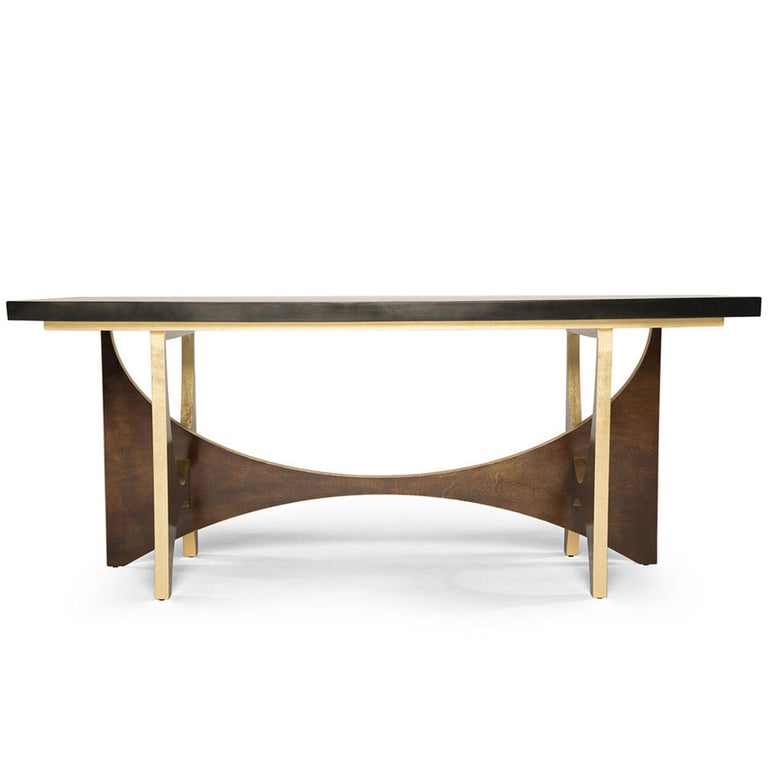 Casablanca Desk in Chocolate and Gold Leaf by Badgley Mischka Home In New Condition For Sale In Los Angeles, CA