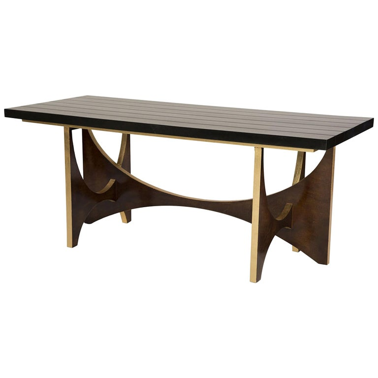 Casablanca Desk in Chocolate and Gold Leaf by Badgley Mischka Home For Sale