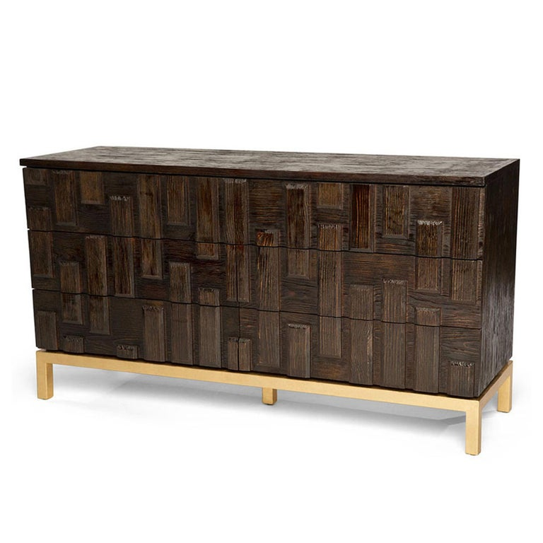 The Casablanca dresser has been ornately assembled with individually-placed reclaimed beveled wood panels that are hand-painted to perfection. This piece features an elegant look by incorporating the rustic nature of wood and striking hand-gilded