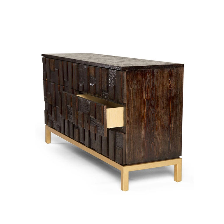 Modern Casablanca Dresser in Chocolate and Gold Leaf by Badgley Mischka Home For Sale