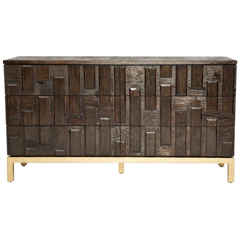 Casablanca Dresser in Chocolate and Gold Leaf by Badgley Mischka Home For Sale