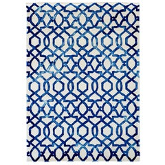 Casablanca Hand Painted Modern Rug in New Zealand Wool by Deanna Comellini