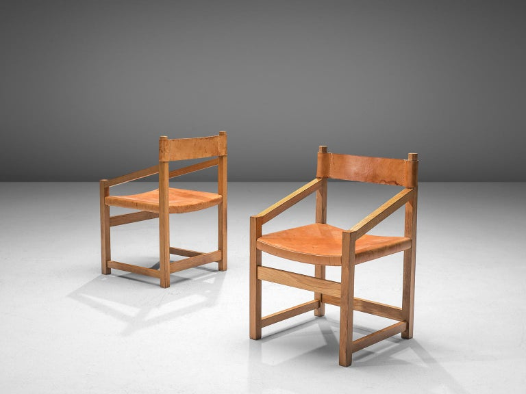 Leather Jordi Casablanca Muntañola Dining Set in Pine with 'S5' Armchairs For Sale
