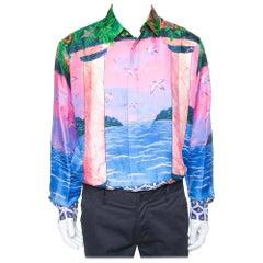 Casablanca Multicolor Printed Silk Satin Button Front Shirt L