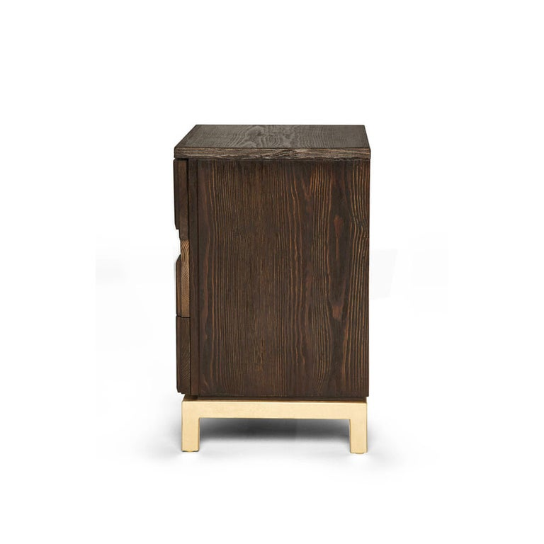 Mexican Casablanca Nightstand in Chocolate and Gold Leaf by Badgley Mischka Home For Sale