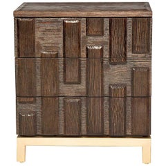 Casablanca Nightstand in Chocolate and Gold Leaf by Innova Luxuxy Group