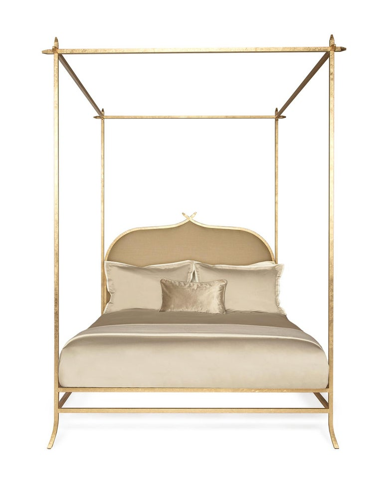 The epitome of true sophistication and elegance, the hand-gilded Casablanca poster bed effortlessly assumes center stage with its gorgeous gold-leafed metal design. Distinguished by crisp lines and a linear silhouette, the tightly upholstered linen