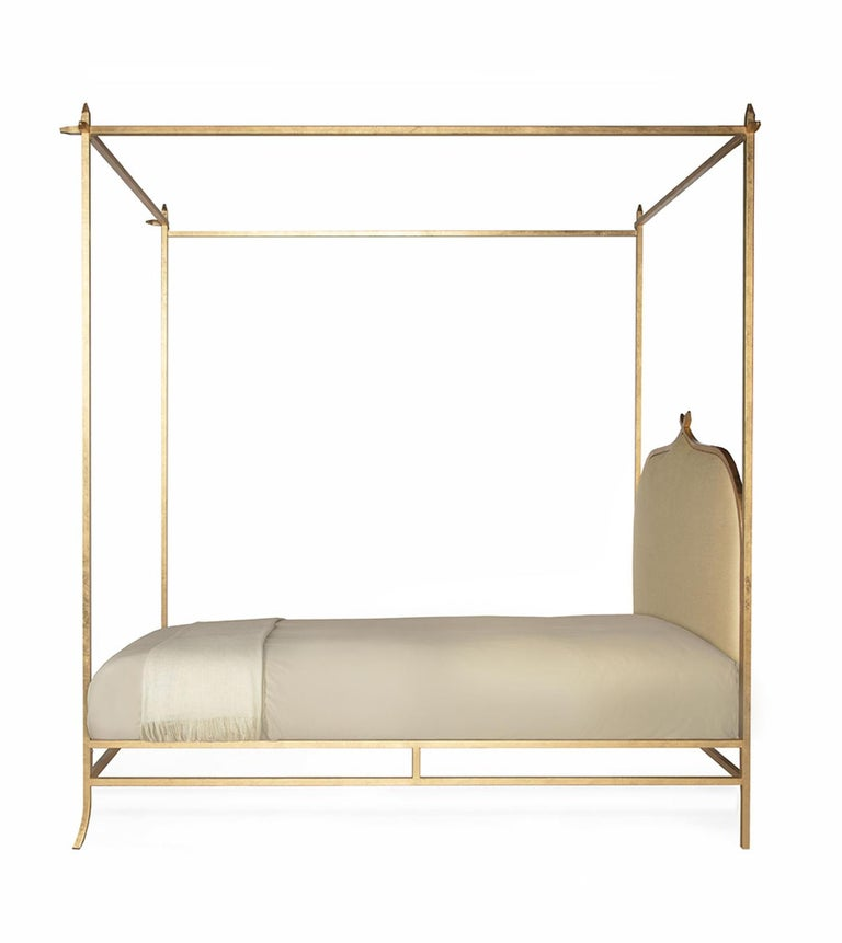 Modern Casablanca Poster King Bed with Gold Leaf Frame by Badgley Mischka Home For Sale