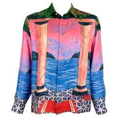 CASABLANCA Size L Multi-Color Print Silk Button Up Long Sleeve Shirt