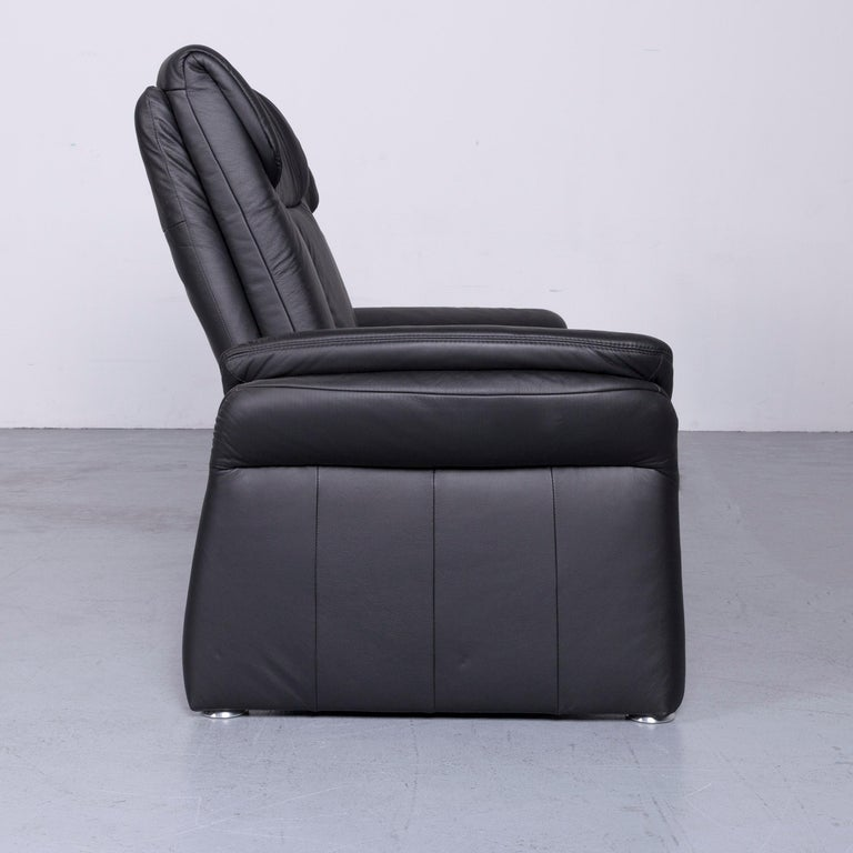 Casada Designer Leather Sofa Armchair Set Black Two-Seat Couch Recliner 6