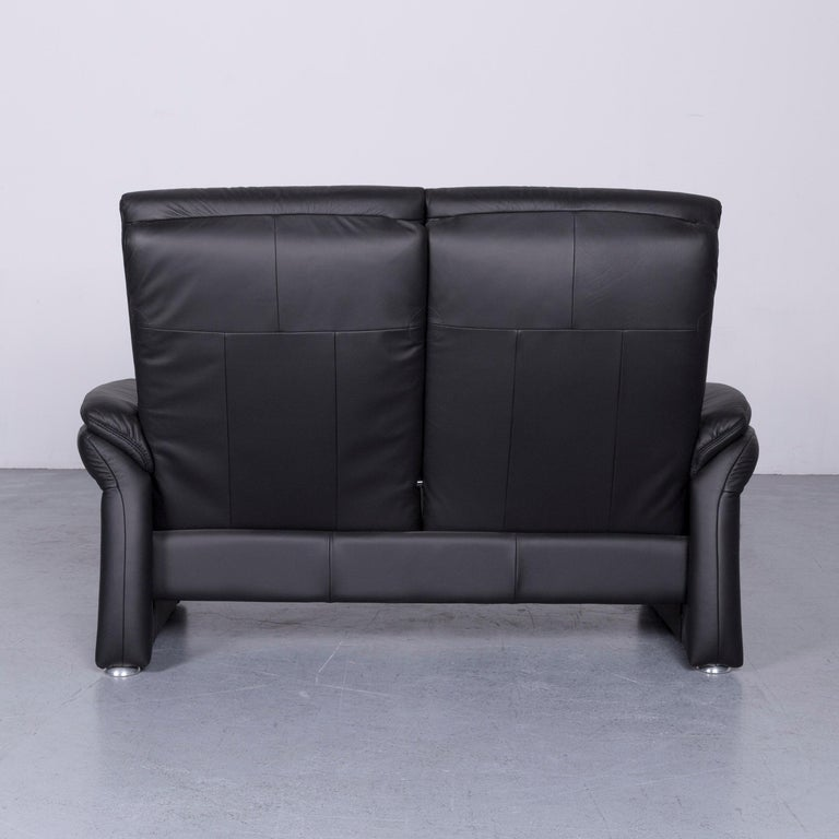 Casada Designer Leather Sofa Armchair Set Black Two-Seat Couch Recliner 7