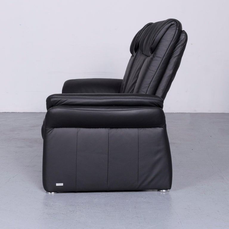 Casada Designer Leather Sofa Armchair Set Black Two-Seat Couch Recliner 8