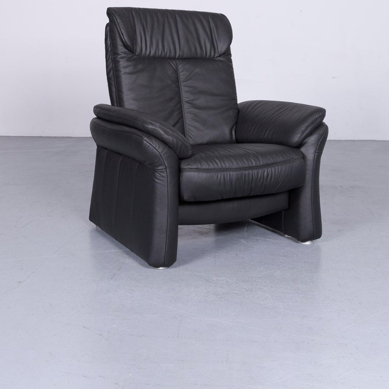 Casada Designer Leather Sofa Armchair Set Black Two-Seat Couch Recliner 9