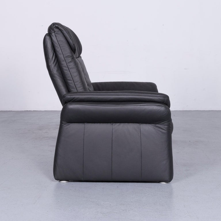 Casada Designer Leather Sofa Armchair Set Black Two-Seat Couch Recliner 14