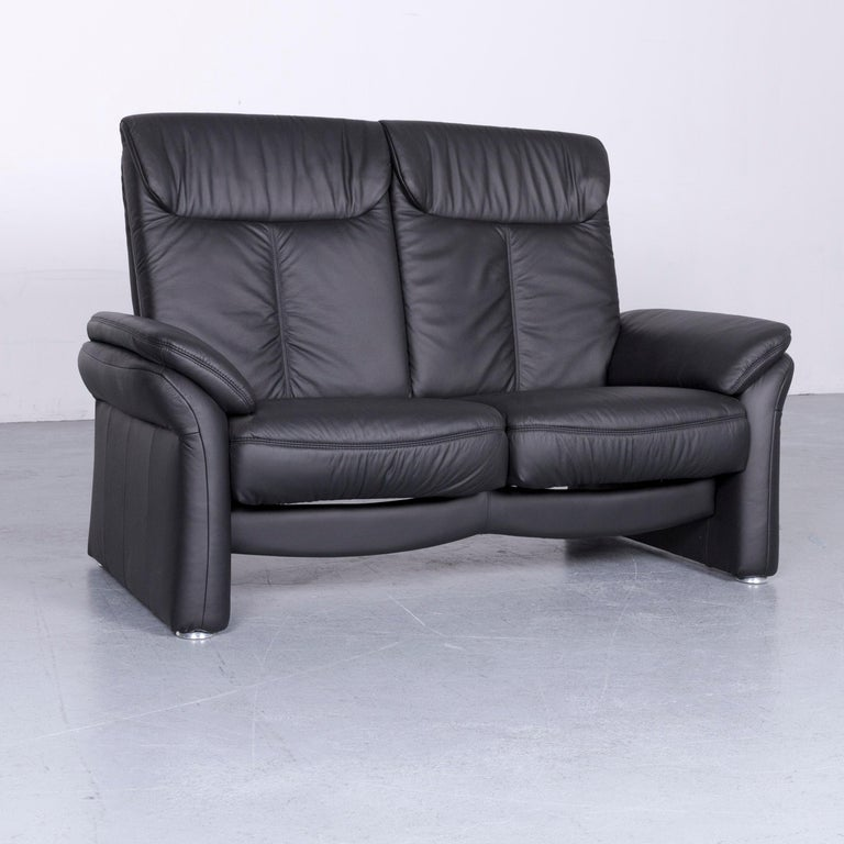 German Casada Designer Leather Sofa Armchair Set Black Two-Seat Couch Recliner