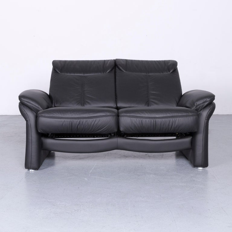 Casada Designer Leather Sofa Armchair Set Black Two-Seat Couch Recliner In Good Condition In Cologne, DE