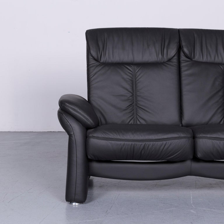 Casada Designer Leather Sofa Armchair Set Black Two-Seat Couch Recliner 1